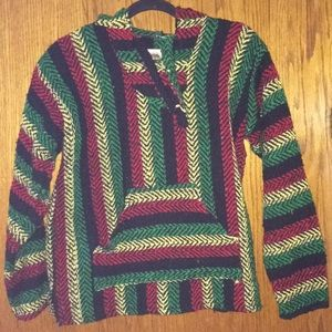 Multicolored Baja Rasta Men's Poncho